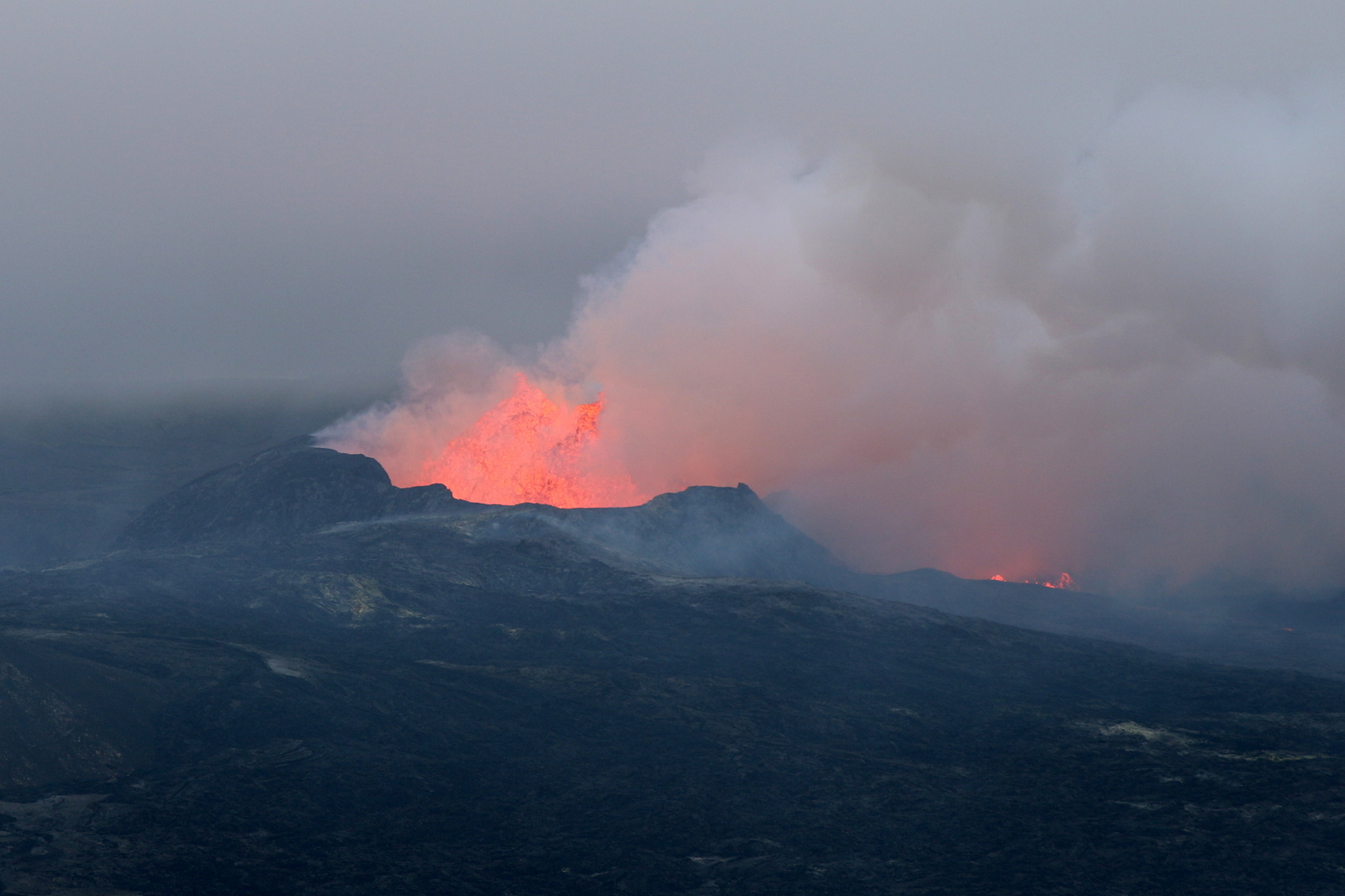 Photo of Fagradalsfjall volcano (Geldingadalir): track C, including lava field and front view of crater